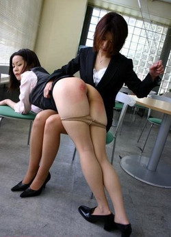 Asian woman teacher spanks japanese..